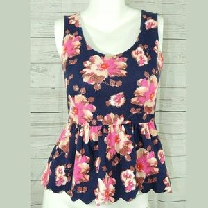 9-H15 Stcl Floral Sleeveless Peplum Cut Out Back